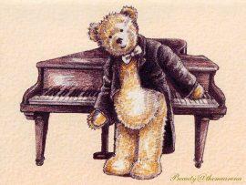 Papel de parede Ursinho – Piano