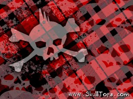 Papel de parede Xadrez Vermelho com Caveira